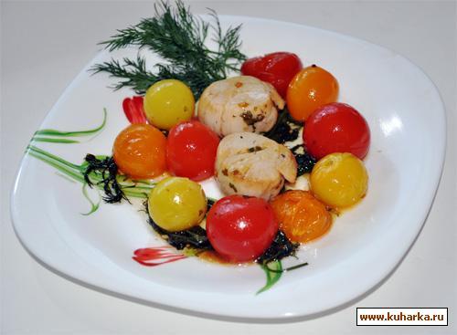 Рецепт Гребешки с кисло-сладкими черри