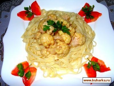 Рецепт Цветная капуста в пикантном соусе с пастой