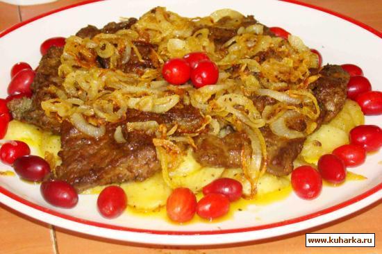 Рецепт Печень на яблоках с луком