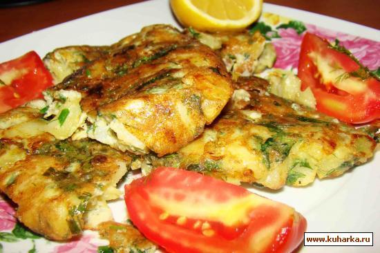 Рецепт Картофель с луком,зеленью и мясным фаршем в яичнице