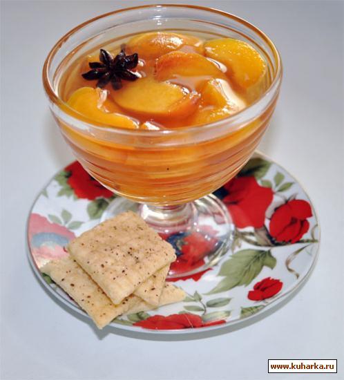 Рецепт Желе из персиков в винном сиропе с бадьяном