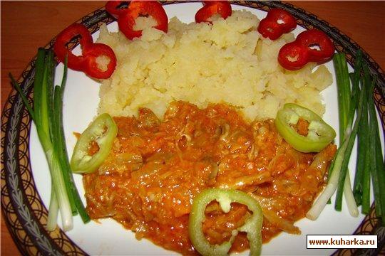 Рецепт Пюре с острым соусом чили с мясом