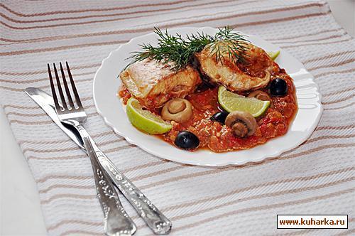 Рецепт Белая рыба на томатно-перечном соусе