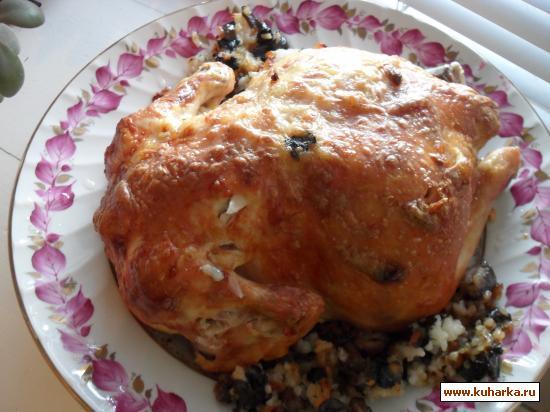 Рецепт Курица фаршированная рисом с грибами