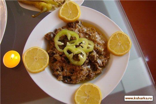 Рецепт Потроха куриные со сметаной