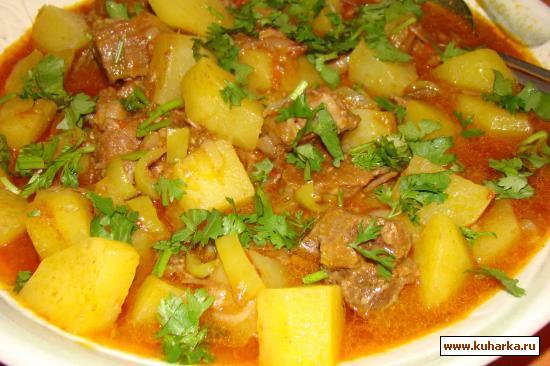 Рецепт Говядина под чесночно-томатным соусом