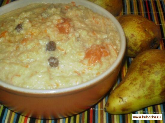 Рецепт Пшенная каша с тыквой,изюмом и грушей