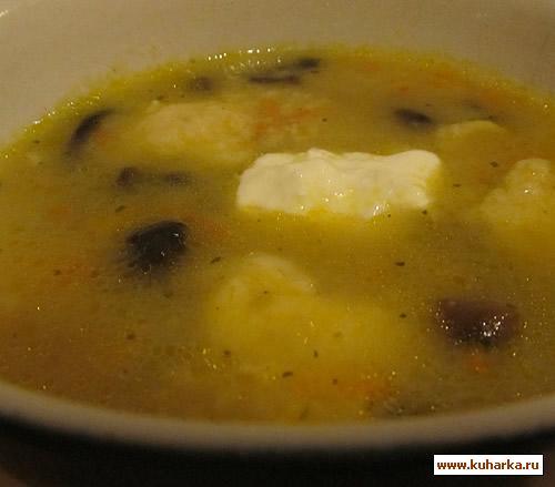 Рецепт Грибной суп с пшеном и клецками