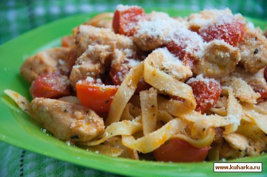 Рецепт Тальятелле с куриным филе и помидорами черри