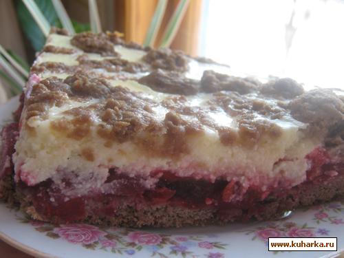 Рецепт Пирог с творогом и вишней