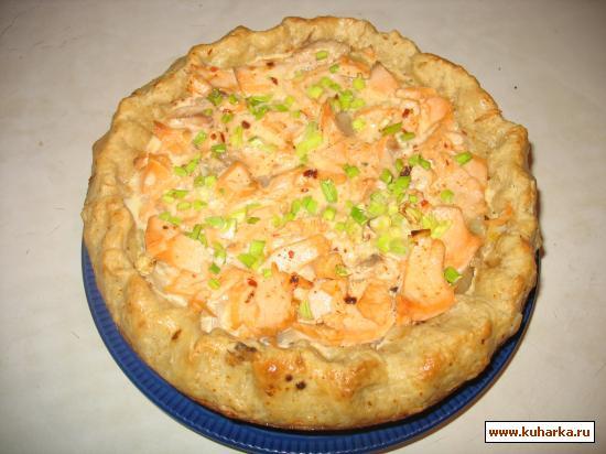 Рецепт Пирог луковый открытый с курицей, свининой или рыбой