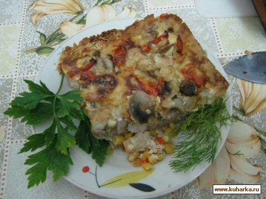Рецепт Киш с индейкой и кукурузой