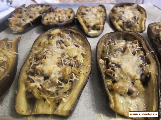 Рецепт Баклажаны фаршированные куриными желудочками