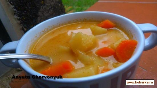 Рецепт Ароматный суп с зелёной чечевицей.