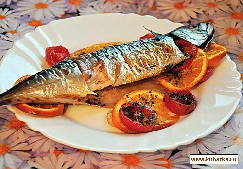 Рецепт Запеченная скумбрия с апельсинами и черри