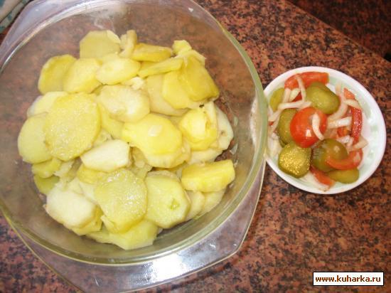 Рецепт Картофель с луком с микроволновке - без воды, запеченный