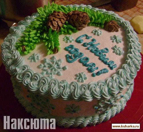 Украшение новогодних тортов фото 2013 из крема