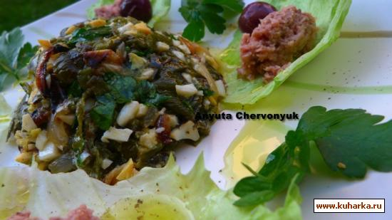 Рецепт Cалат с перцами и оливковым маслом.