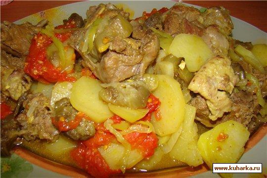 Рецепт Телятина, жареная с картофелем и помидорами.