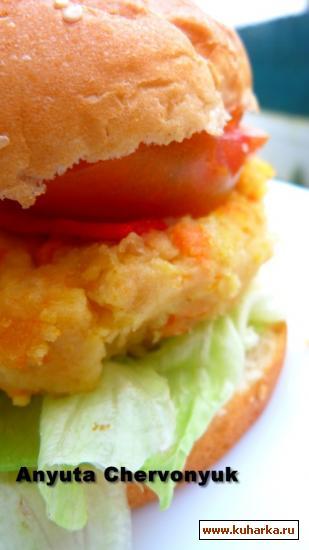 Рецепт Гамбургер с горохом-нут.