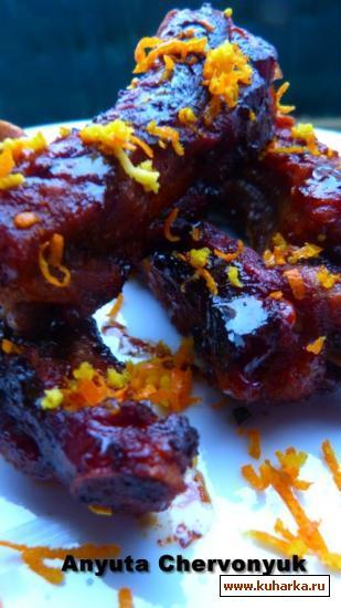 Рецепт Острые рёбрышки в апельсиновом соусе.
