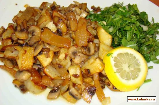 Рецепт Грибы, жареные со шкварками и с картошкой