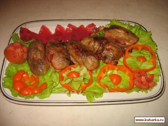 Рецепт Рулетики из куриной шкурки, фаршированные овощами