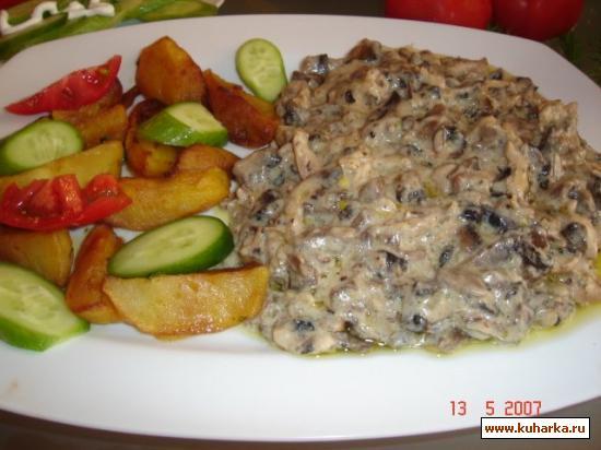 Рецепт Филе курицы с грибами в сметане