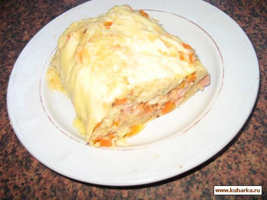 Рецепт Рулет манный с морковью, сыром и ветчиной