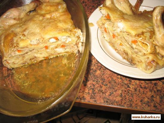 Рецепт Курица, фаршированная блинами