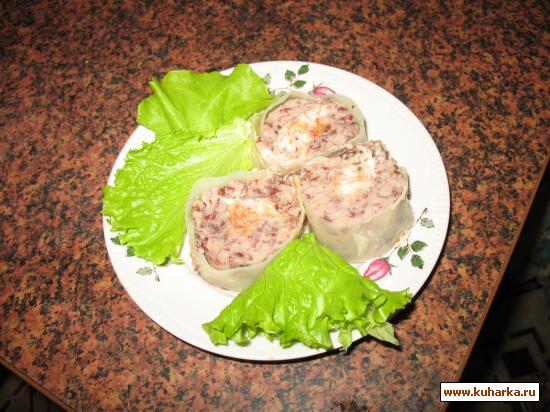 Рецепт Рулет из фасоли в капустных листах