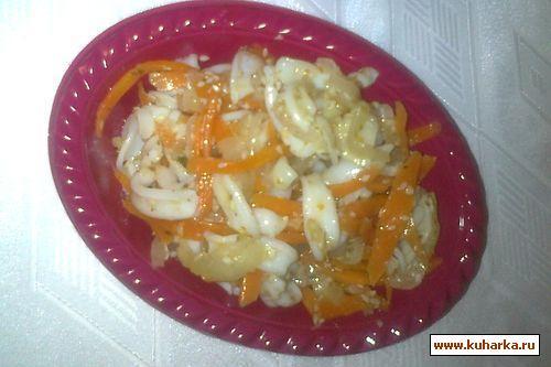 Рецепт Острый салат из кальмаров