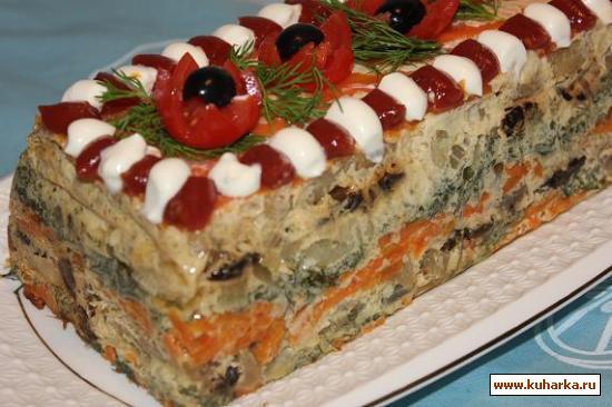 Рецепт Рыбный торт с овощами и черносливом