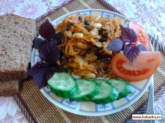 Рецепт Рагу из капусты, фасоли и грибов.