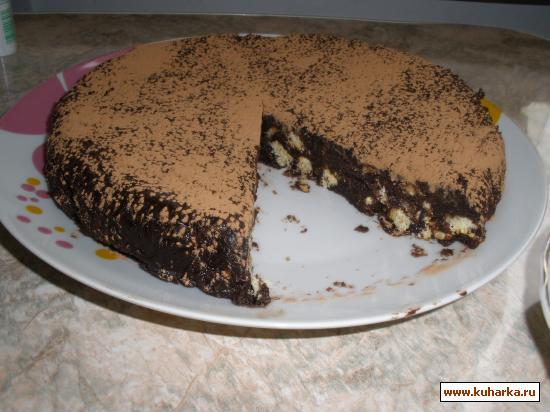 Рецепт Ленивый шоколадный торт с печеньем