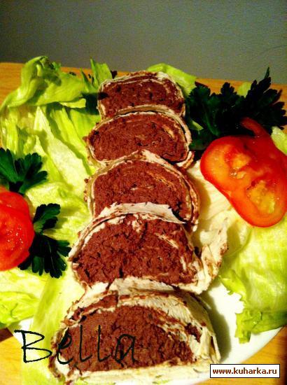 Рецепт Рецепт рулета из лаваша с начинкой из печеночного паштета