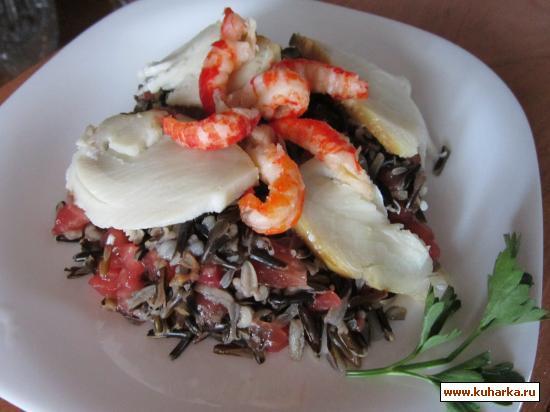 Рецепт Салат из дикого риса с морепродуктами