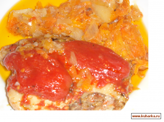 Рецепт Жаркое из курочки под белым вином с помидорами