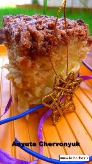 Рецепт Яблочный пирог с крошкой.