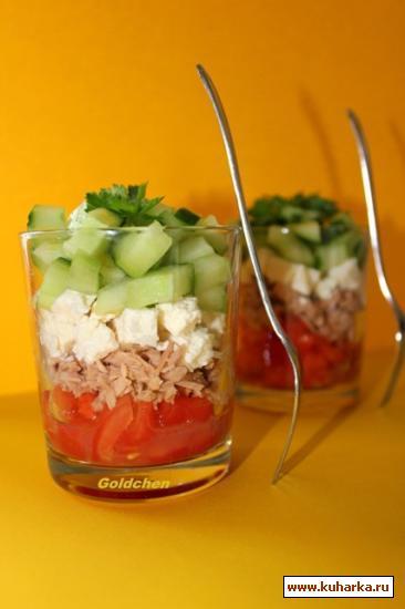 Рецепт Помидорный тартар с огурцами и тунцом