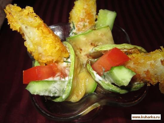 Рецепт Закуска из кабачков с рыбой.
