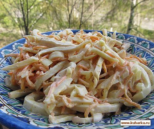 Рецепт Салат с кальмарами и корейской морковкой