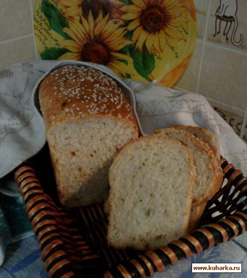Рецепт Хлеб с сыром, кунжутом, сушеными овощами и укропом.