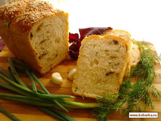 Рецепт Ароматный хлеб-коса со свежей зеленью.