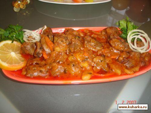 Рецепт Куриные потроха в томатном соусе с овощами
