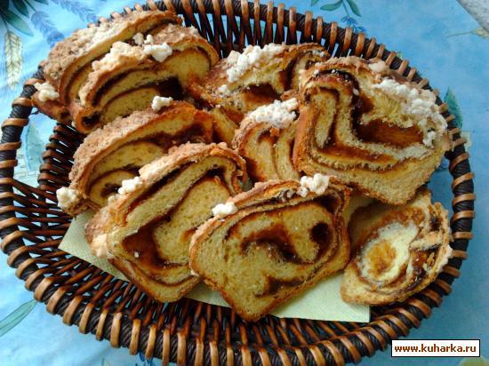 Рецепт Хлеб-рулет со штрейзелем и джемом.