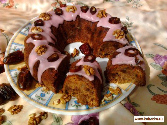 Рецепт Финиковый кекс с орехами.
