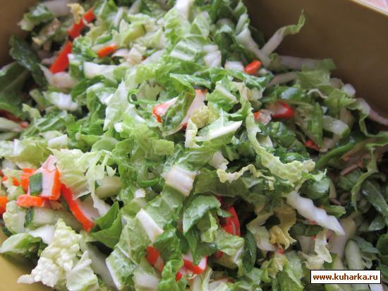 Рецепт Зеленый салат с крабовыми палочками