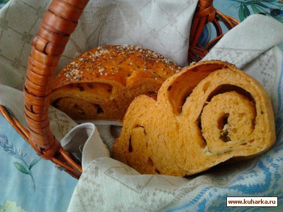 Рецепт Томатный хлеб с сыром, зеленым луком и тмином.