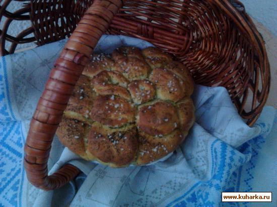 """Рецепт Хлеб """"Роза"""" с чесноком и укропом."""